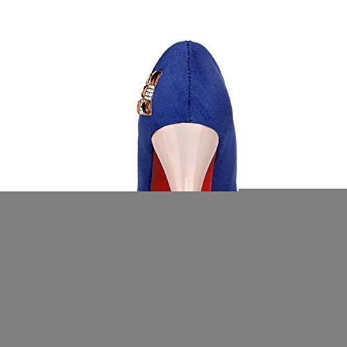 VogueZone009 Donna Punta Tonda Tacco Alto Pelle Di Mucca Puro Tirare Ballerine Azzurro
