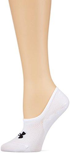 Under Armour Essential Ultra Low Liner Women's Socks, White/Black (101), Medium