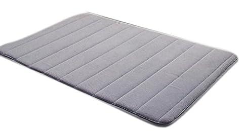 Komanic Latex Free Plush Microfiber Non Slip Memory Foam Bathroom Mat, Gray by Komanic