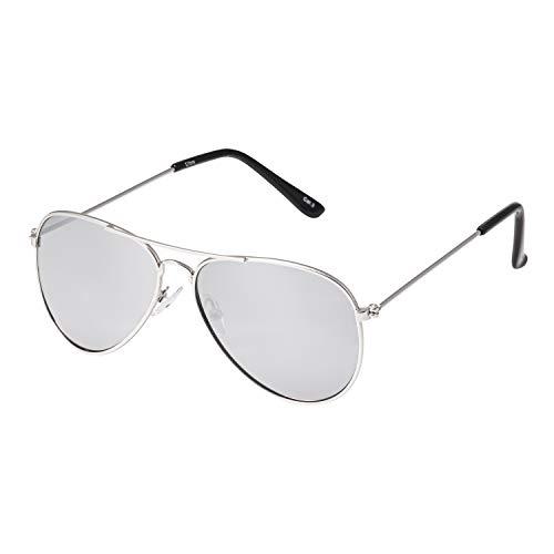UltraByEasyPeasyStore Ultra Silber Rahmen mit Verspiegelten Silbergläsern Linsen Kinder Pilot Sonnenbrille Jungen Mädchen Klassische Metall UV400 Brillen Schatten Unisex