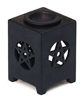 SouvNear-114-cm-Inches-Essential-Oil-Diffuser-Warmer-Burner-for-Fragrance-Aromatherapy-Elegant-Black-Tealight-Holder-Lantern-for-Home-Spa-Restaurant-Hotel-Resort-Dcor