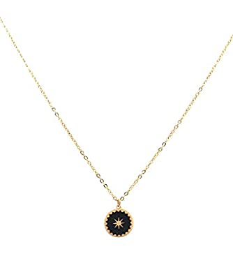 Collier petite Etoile en acier inoxydable Noir - Médaille étoile émaillée