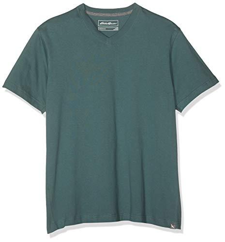 Eddie Bauer Herren Legend Wash Pro Shirt - Kurzarm mit V-Ausschnitt, Gr. L, Immergrün