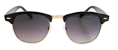 50er Jahre Retro Sonnenbrille Halbrahmen schwarz gold Rockabilly Clubmaster Style FARBWAHL (Schwarz / Smoke)