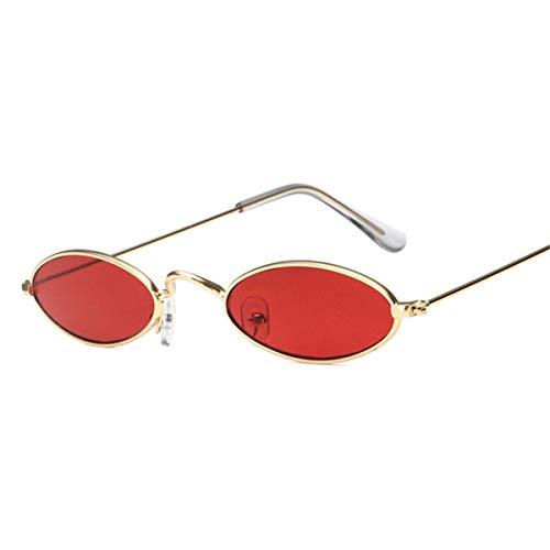 Sport-Sonnenbrillen, Vintage Sonnenbrillen, Vintage Small Oval Sunglasses Women Retro Brand Skinny Metal Frame Sunnies Men Sun Glasses Red Yellow Cat Eye Eyewear Red