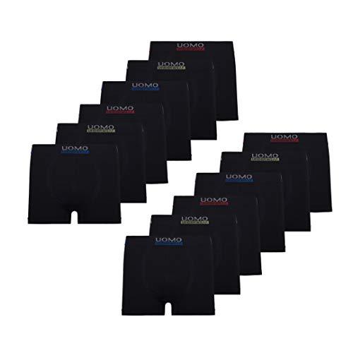 Mikrofaser Herren-shorts (UOMO Herren Boxershorts Retroshorts Unterhose 12er Pack Mikrofaser Schwarz Neon Blade Eagle, XXL, 12x Schwarz)