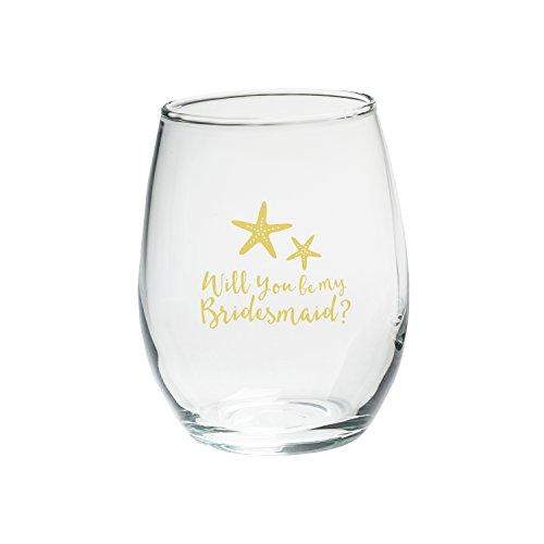 Kate Aspen Will You Be My Bridesmaid Beach Tides 15Oz ohne Stiel Wein Glas (Set von 4)