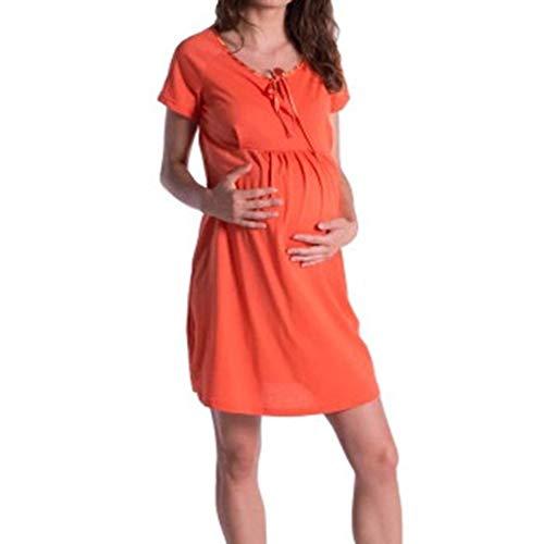 Lurcardo Stillkeid Umstandskleid Kurzarm Rundhals Retro Pure Farbe Stillkleid Schwangerschafts Kleid Mode Still-Nachthemd Stillen Kleid Umstandsmode Frauen Damen Kleid Sommer Damen Kleider Damen Tops