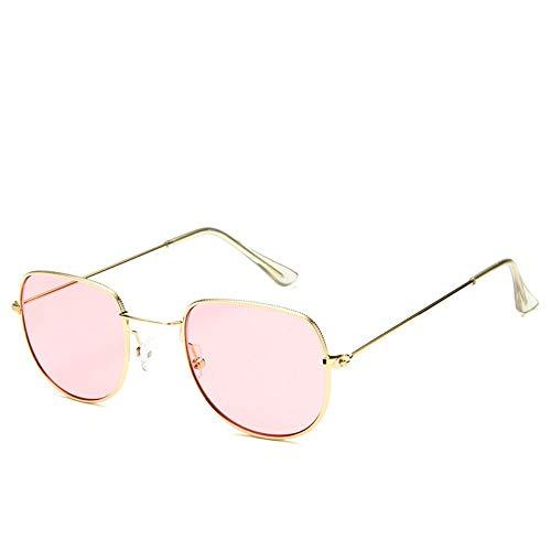 Sonnenbrille Sonnenbrille Retro Metallrahmen Uv400 Klare Linse Plain Gläser Reisen Im Sommer Sonnenbrillen Für Männer Frauen Spiegel Golden Pink (Gläser Plain Wayfarer)