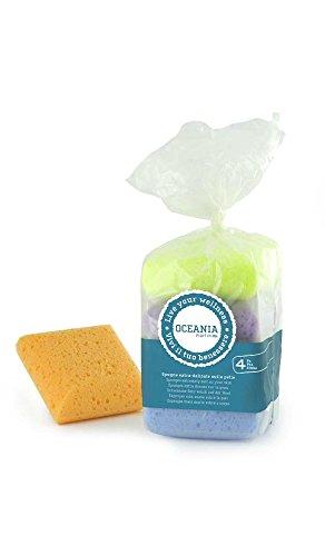 éponge quadrate extra delicate in sacchetto- set di 4 spugne