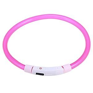 POPETPOP LED Hundehalsband USB wiederaufladbare Glowing Pet Sicherheitshalsbänder leuchten Silikon blinkendes Halsband für mittelgroßen Hund 50cm (Pink)