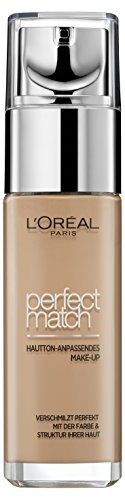 L'Oréal Paris Foundation Perfect Match, deckendes Make Up - perfekte Verschmelzung mit dem Hautton & 24h Feuchtigkeit