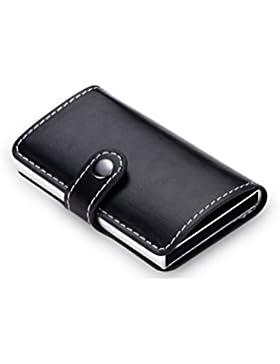 BESTOMZ Tarjetero de Cuero de Aluminio de Tarjetas de Crédito Billetera Larga para Hombre (Negro)