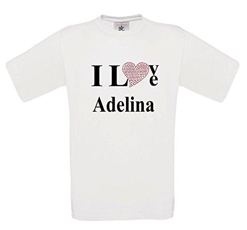 T-Shirt I Love Adelina mit einer Strassaplikation / Strassherz Weiß