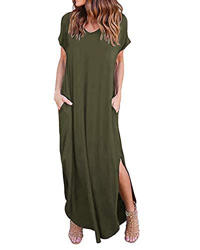 Kidsform Damen Kleider Großen Größen Maxikleider Sommerkleider Elegant Strandkleider Kurzarm V-Ausschnitt Split Lang Kleid Armeegrün EU 44/Etikettgröße XL -