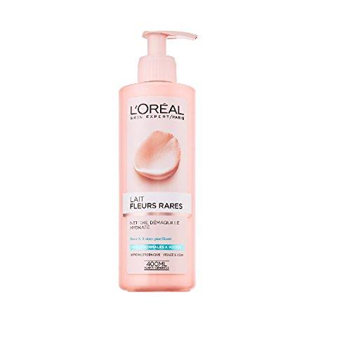 L'Oréal Paris Toilette aux Fleurs Lait Démaquillant Peaux Normales à Mixtes Rose/Lotus 400 ml - Lot de 2