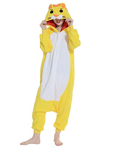 mi Kostüm Anime Tier Cosplay Hoodie Onesie Erwachsene Pyjamas Cartoon Party Halloween Nachtwäsche (Golden Lion) Größe L (Lion Halloween-kostüm)