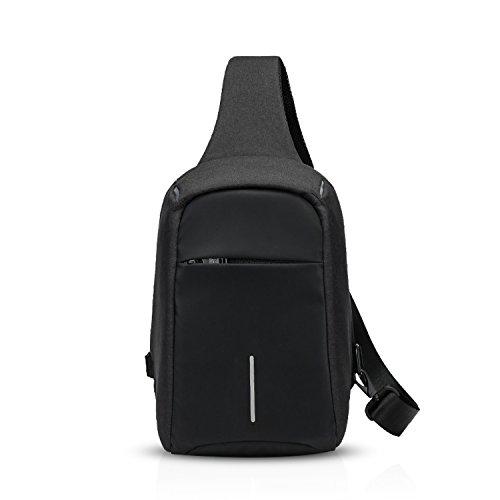 FANDARE Sling Bag Riflessivo Monospalla Borse a Spalla Zaino Tracolla Crossbody Bag Hiking Bag Borsello Marsupio Zainetto Uomo Donne Zaino Poliestere Nero