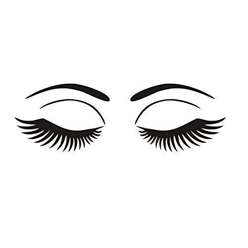Hermosa Pestañas Salón Spa Etiqueta de La Pared Decoración de Barbería Maquillaje Salón Chica Ojos Grandes Cara Cosmética Calcomanías de Vinilo Decoración para el hogar 59 cm X 19 cm