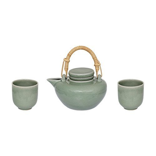 Tetera té Service 3piezas Gres Colador Taza de cerámica verde Japón té Set de regalo regalo + Magnífico librum® Flyer
