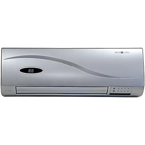 CE04202 Calefactor split de pared, 2000 W, cerámico, 2 posiciones, ventilacion, temporizador, color plata