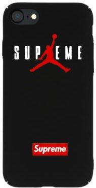WRAP® Coque iPhone 5 5S SE Supreme Jordan Air Logo Plastique rigide Noir et Rouge
