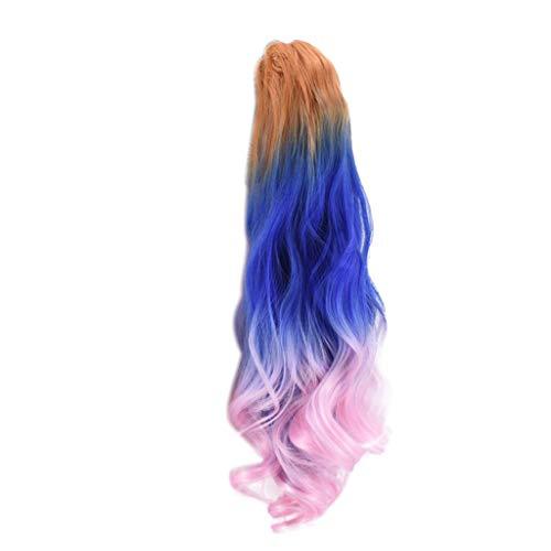 Frau sieben Ton synthetische lange gewellte Haare Pferdeschwanz Haarverlängerungen Perücke (Halloween-kostüme Haare Männlich Lange)