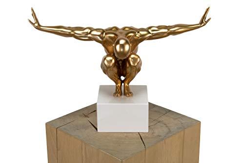 KunstLoft® Skulptur \'Über den Wolken\' 30x30x13cm   Moderne Kunststein-Figur   Modern Athlet Deko Gold   Statue als Unikat - Handgefertigtes Kunstwerk   Schöne Wohnzimmer-Dekoration