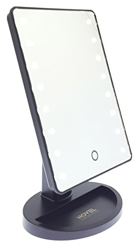 Novel Solutions - Espejo de Maquillaje con Sensor táctil LED, Giratorio para Ajustar el ángulo Reflectante...