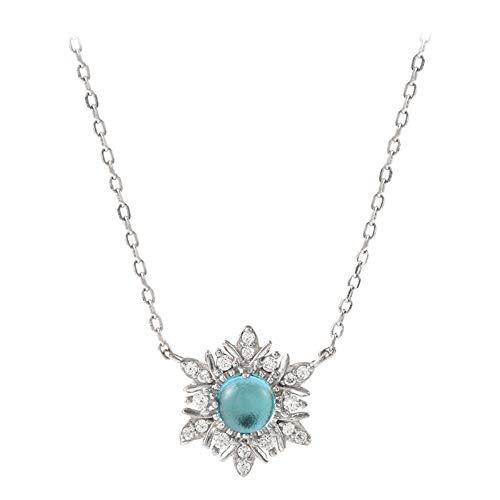 ypoallergen, Blauer Schaum Schneeflocke Halskette Einfaches Zubehör Student Mode Schlüsselbein Kette Weiblichen Hals Schmuck ()