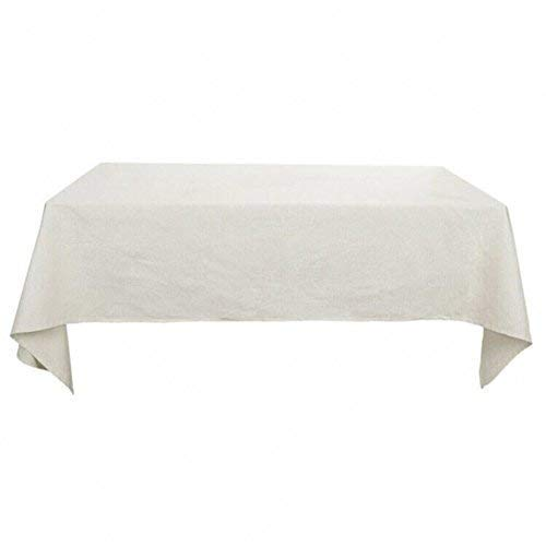 Deconovo Nappe Carree en Coton Impermeable Anti Tache pour Table 130x130cm Blanc Pâle Gris