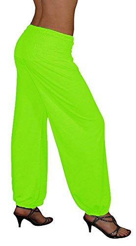 S&LU Gorilla-Star Damen-Yoga- oder Wellness-Hose mit dehnbarem Bund in 3 Größen von XXS bis 5XL wählbar (Einheitsgröße XXL-5XL, Neon-Grün) Neon-grüne Hose