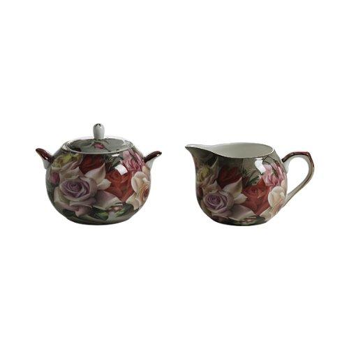 Maxwell & Williams S3118710 Royal Old England Milch und Zucker Set, Milchkännchen, Zuckerdose, Motiv: Blumenstrauß, in Geschenkbox, Porzellan
