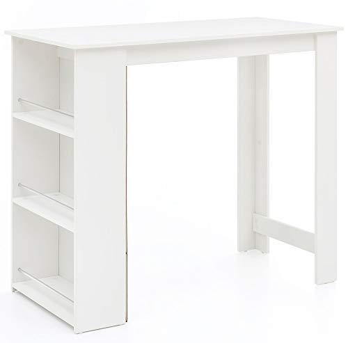 FineBuy Bartisch 120 x 60 cm Stehtisch Holz Weiß Küchenbartisch | Bartresen mit integriertem Regal | Tresentisch mit Bar | Tresen Küchen Tisch - Weiß 3 Regal Bar