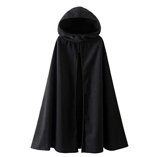 Estyle Fashion Damen Lange Kapuzenpullover Umhang Mäntel Jacke Cape Poncho Parka Schwarz Size M - Kapuzen Wollmischung Mantel