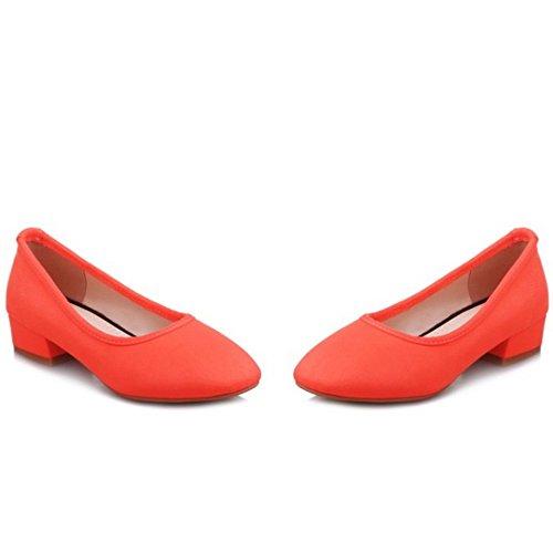 COOLCEPT Femmes Basic Bout Ferme Talon Bas Escarpins Slip On Chaussures Orange