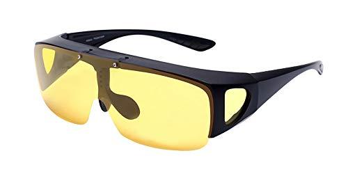 BOZEVON Herren und Damen Sonnenbrillen Polarisiert - Unisex Fit-over Brille Überbrille Nachtsichtbrille für Brillenträger 100% UV400 Schutz, Gelb - Nachtsichtgläser