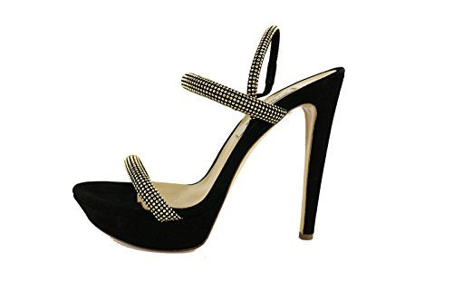 GIANNI MARRA sandali donna 40 EU nero camoscio strass AG402