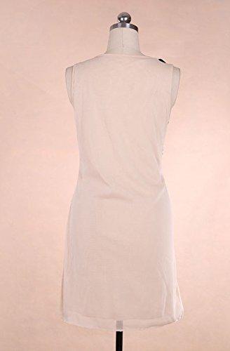 Abendkleider Damen Ärmellos O Ausschnitt Fashion Bestickt Geometrie  Gemustert Sequins Eng Kleider Ballkleid Apricot
