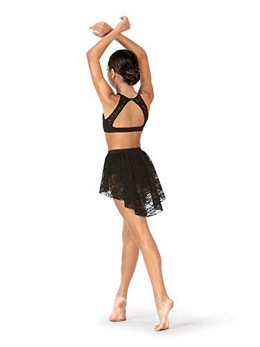 (Agoky Mädchen Ballettkleid Neckholder Crop Top Dance Slip Rock Tanz Kostüm Ballett Outfits Tanzkleid mit Blumenspitzen in Schwarz Weiß gr. 116-164 Schwarz 134-140/9-10Jahre)