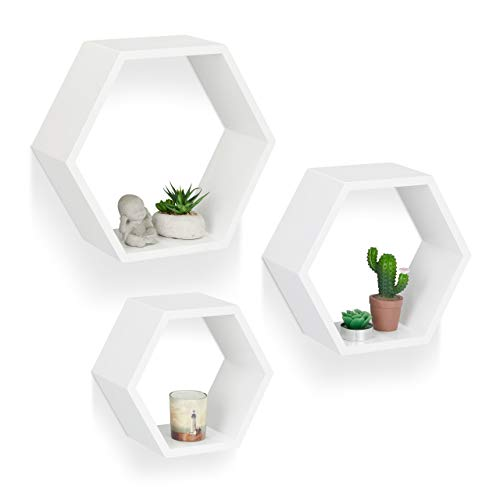 Relaxdays Juego Baldas Pared Grandes Hexagonales