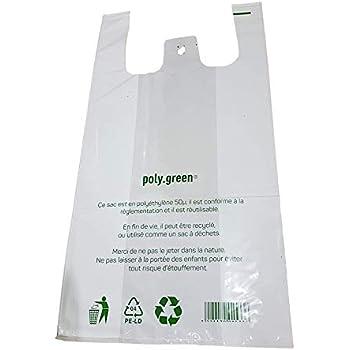 6118ccbd4 Sac de course a bretelle blanc 50 micros sac plastique réutilisable ...