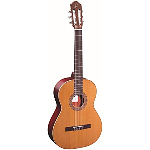 Ortega R200 - Guitarra de concierto de 4/4 con funda (acabado brillante, tapa maciza)