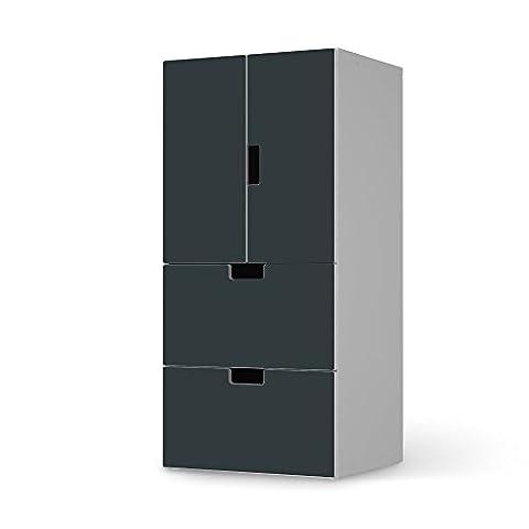 Designfolie für IKEA Stuva Kommode kombiniert - 2 Schubladen und 2 kleine Türen | Klebefolie Möbel-Sticker Folie Möbeltattoo | Inneneinrichtung gestalten Wohnaccessoires | Farbe Blaugrau 1