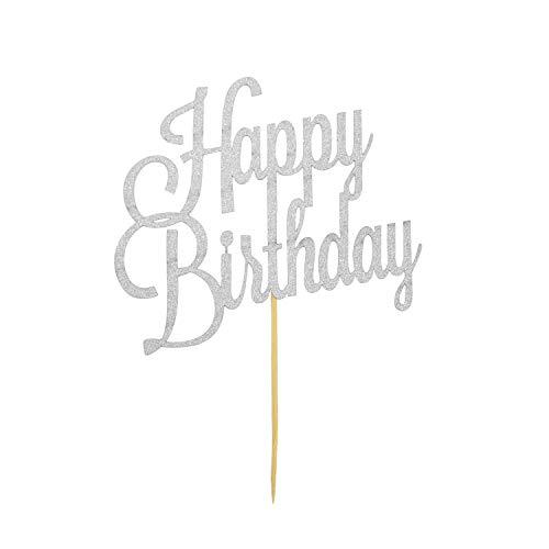 ten Kuchen Topper Aufsatz Happy Birthday Geburtstag Deko - Silber mit Glitzereffekt Muffin Cupcake Dekoration ()