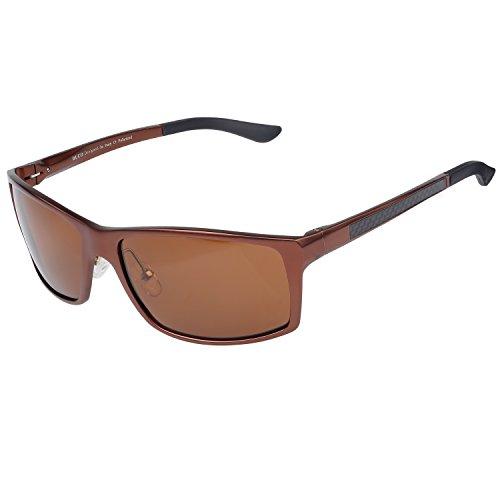 DUCO Herren Sportbrille Polarisierte Sonnenbrille Fahrerbrille 8202 (Braun)