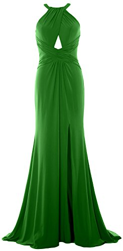 MACloth Women Mermaid Halter Evening Formal Dress Sexy Jersey Prom Ball Gown Green