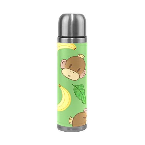 WowPrint Reisebecher, süße Affe, Banane, isolierte Edelstahl-Wasserflasche, auslaufsicher, doppelwandig, Thermoskanne, Vakuumflasche, Echtleder, 500 ml
