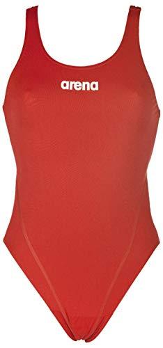 Arena w solid swim tech high, costume sportivo donna, rosso (red/white), 38