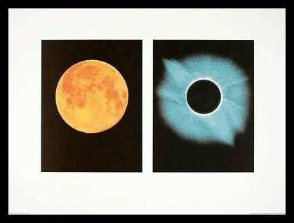 Shigemi Numazawa Full Moon Total Solar Eclipse Poster Kunstdruck Bild im Alu Rahmen in schwarz 66x86cm - Germanposters Solar Eclipse-poster